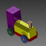 S2 CAD Rendered Toy Train