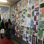 Pupils enjoying our recent display of portfolios.